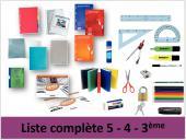 Liste complète 5-4-3ème collège Marc Sangnier
