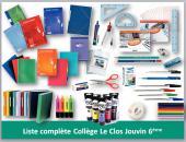 Liste complète 6ème collège Le Clos Jouvin