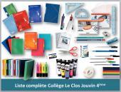 Liste complète 4ème collège Le Clos Jouvin