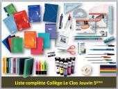 Liste complète 5ème collège Le Clos Jouvin