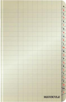 Répertoire piqué 96 pages, 11x17 cm, seyès 90 g. Couverture polypro.